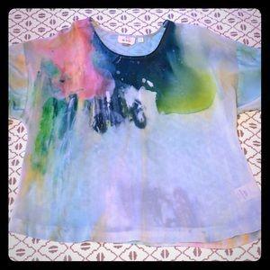 Anthropologie Watercolor Print Silk Scarf Top